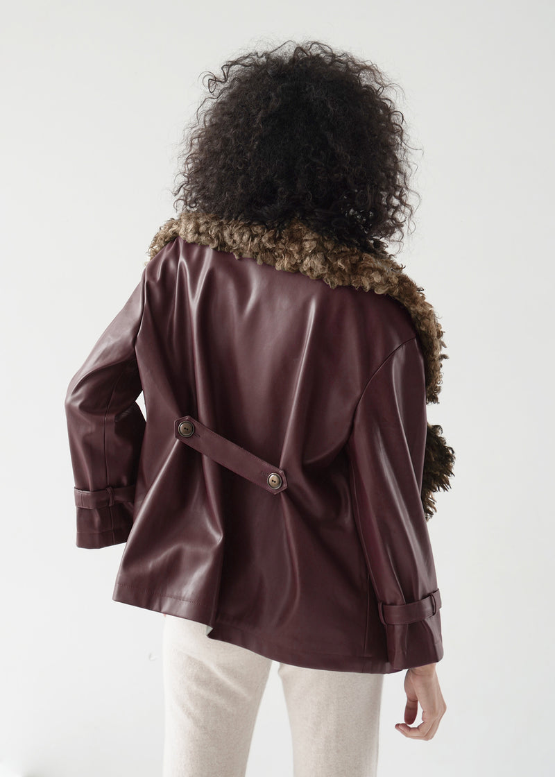Faux Shearling-Trimmed Vegan Leather Coat