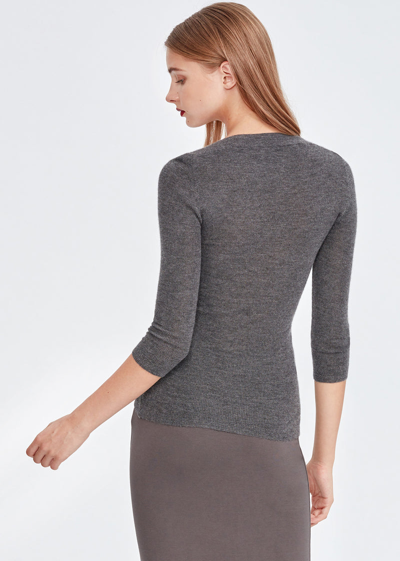 U-neck 3/4 Sleeve Cashmere Top (DARK GREY) - S, M, L