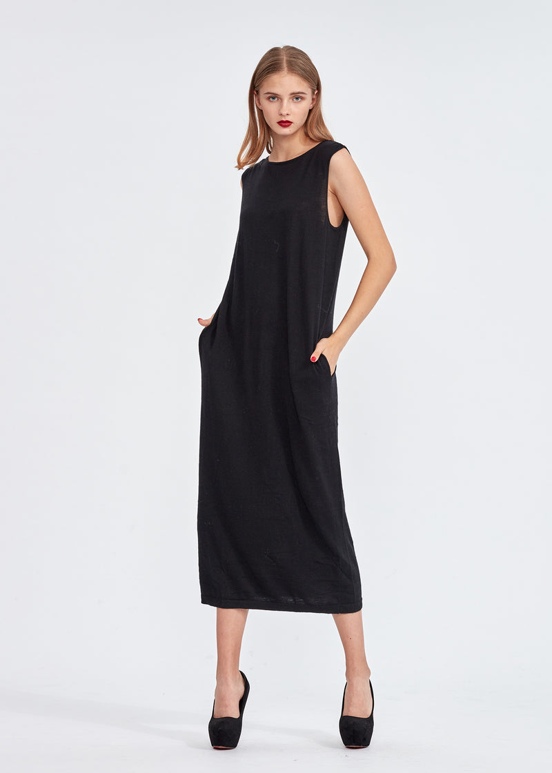 Boat Neck Cashmere Long Dress