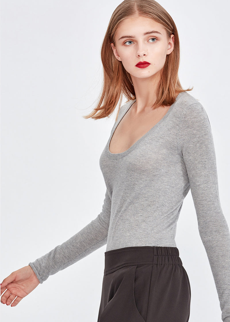 U-neck Silky Cashmere Top (GREY) - S, M