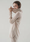 V-neck High Rib Sleeve Cashmere Top