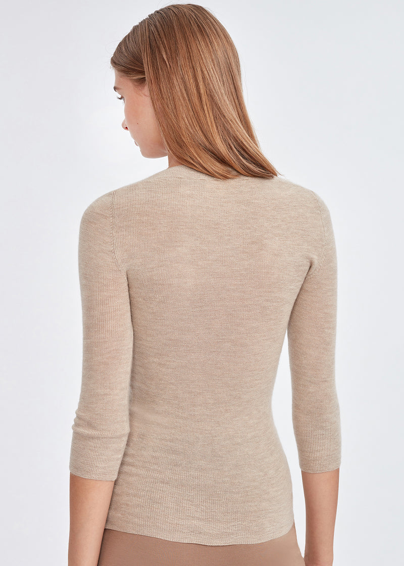 U-neck 3/4 Sleeve Cashmere Top (BEIGE) - S, M, L