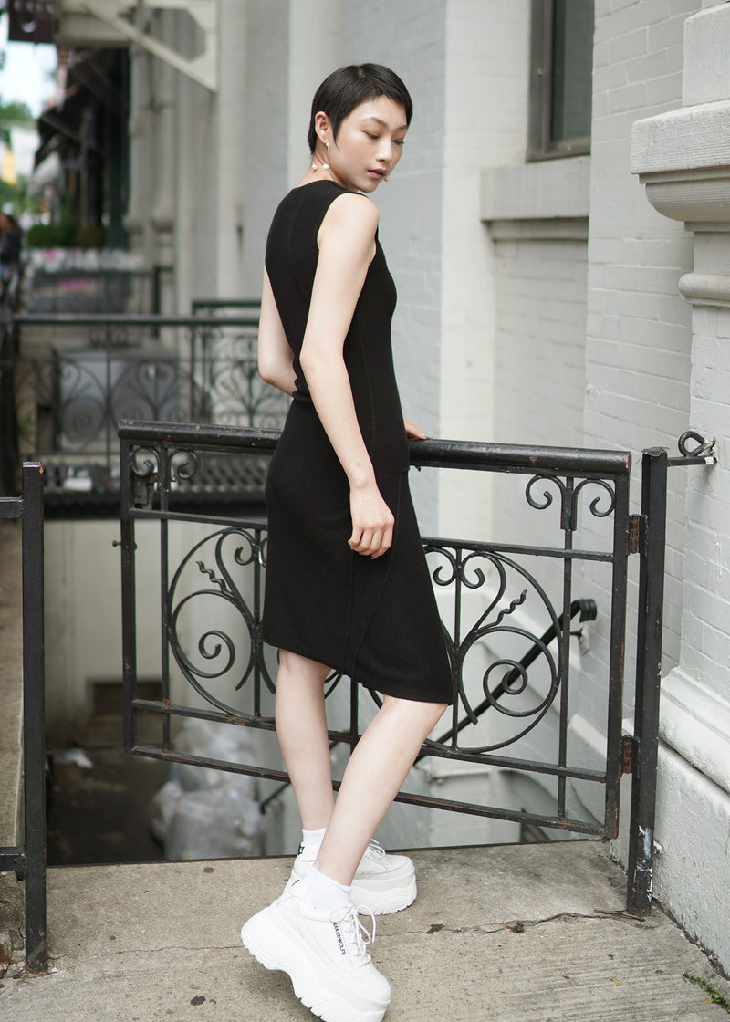 O-neck Sleeveless Cashmere Long Dress