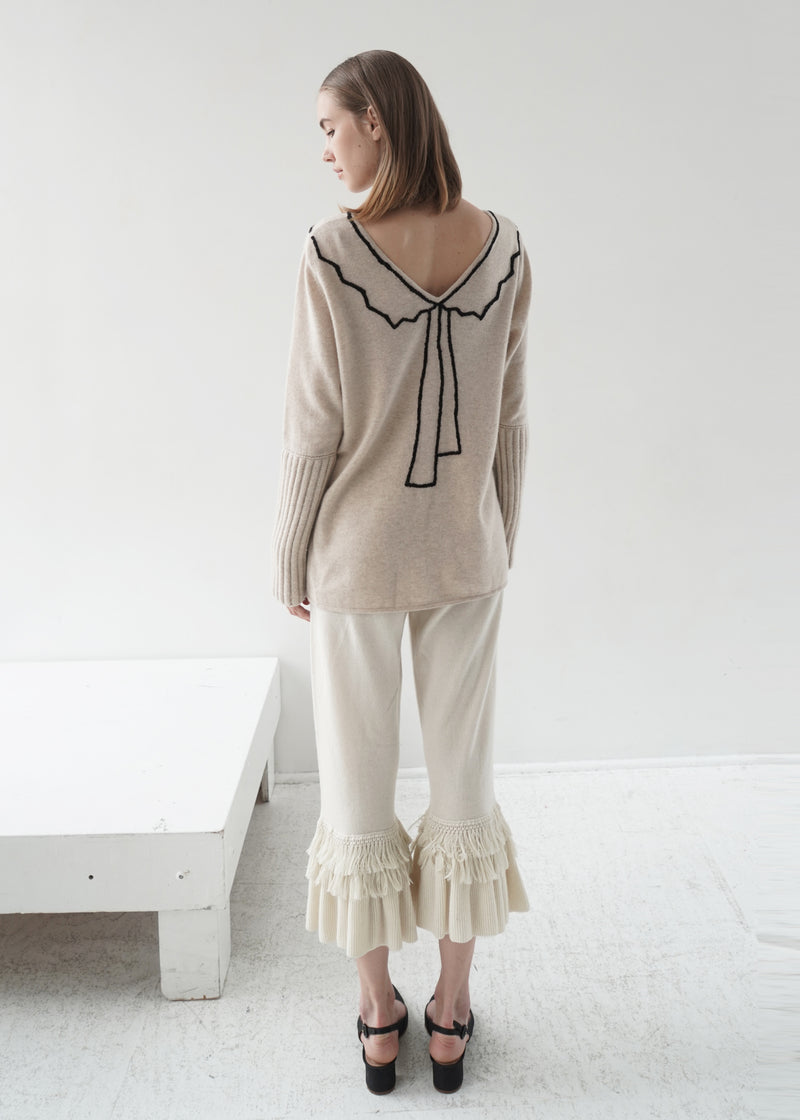 Wide Leg Cashmere Cropped Pant with Tassels