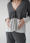 Buttoned Cashmere Cardigan with Two Diamond Pins