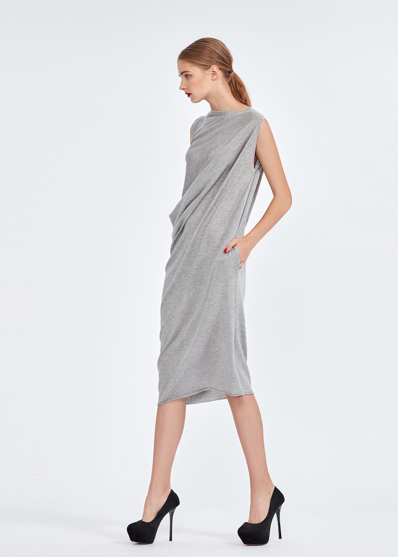 Boat Neck Draped Silky Cashmere Long Dress