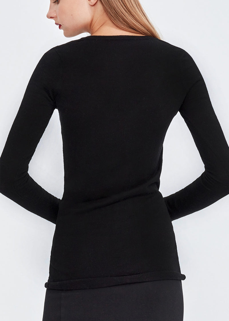 U-neck Silky Cashmere Top (BLACK) - S, M