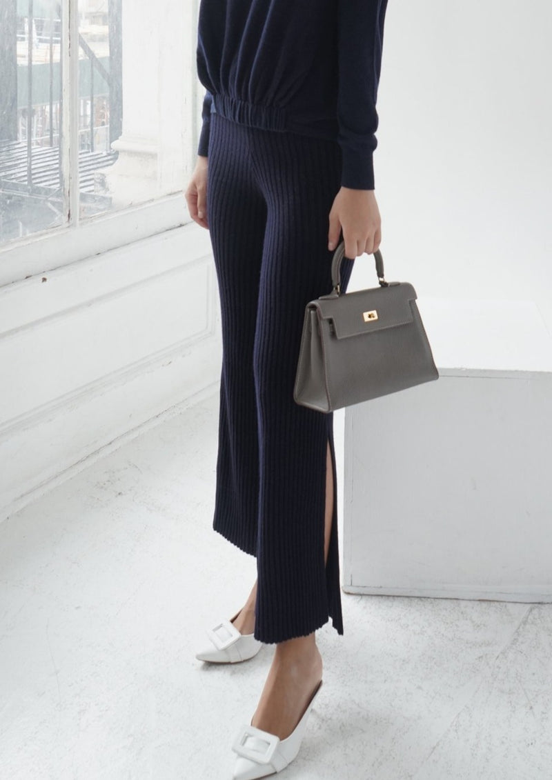 Cashmere Side Slit Ribbed Flared Trousers (NAVY) - S, M