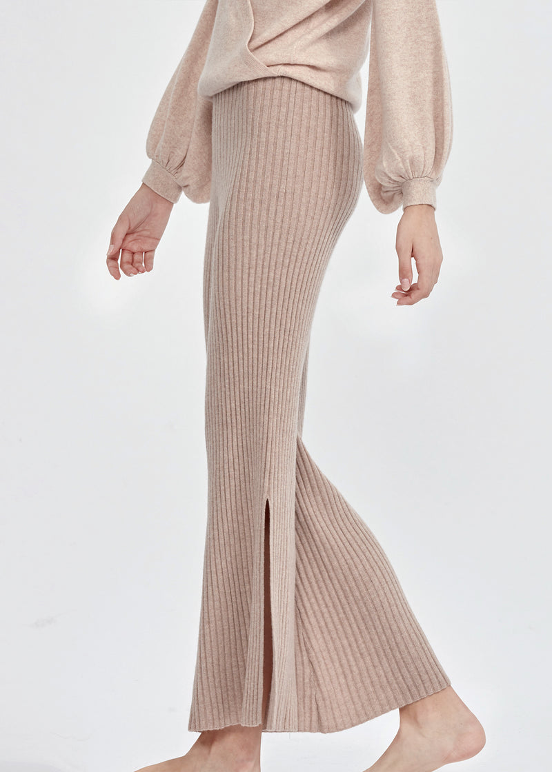 Cashmere Side Slit Ribbed Flared Trousers (BEIGE) - M