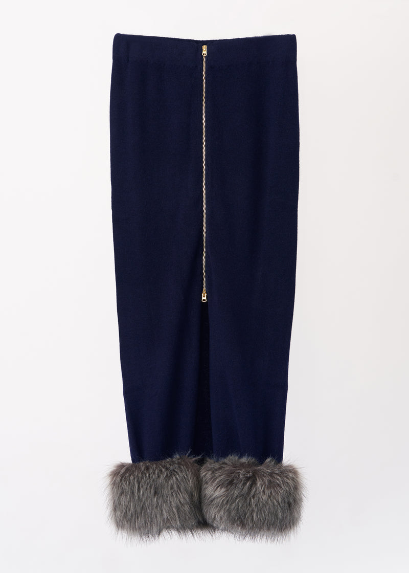 Cashmere Pencil Skirt with Detachable Fur