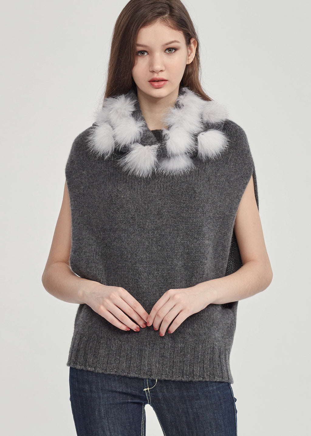 Turtleneck Cashmere Vest with Faux Fur Pom Pom