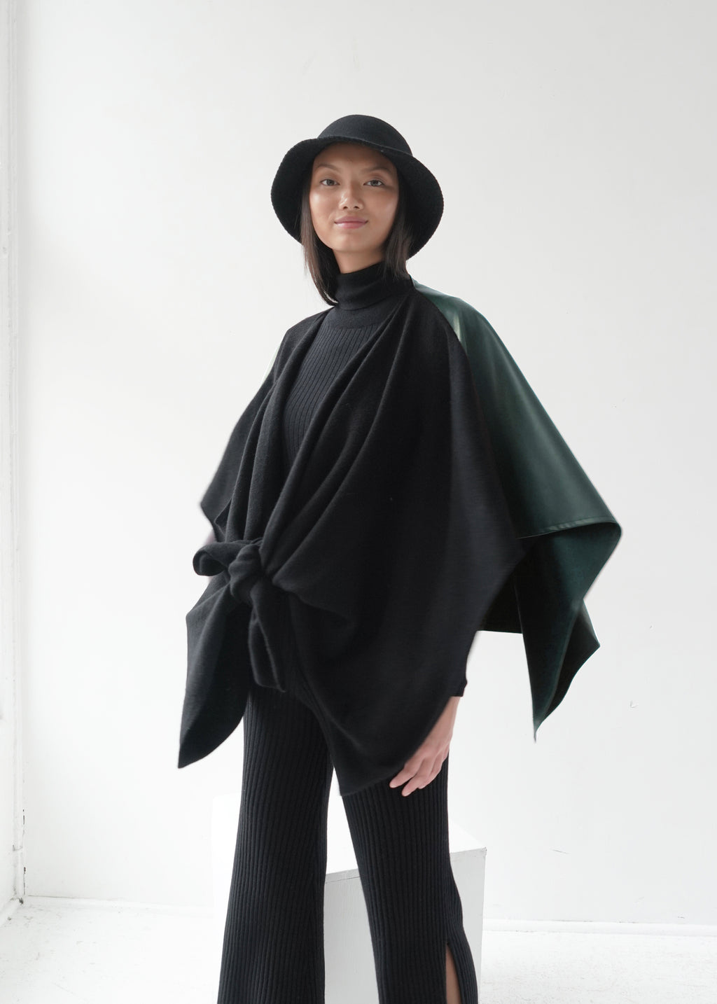 Vegan Leather Splice Cashmere Poncho with Leather Belt