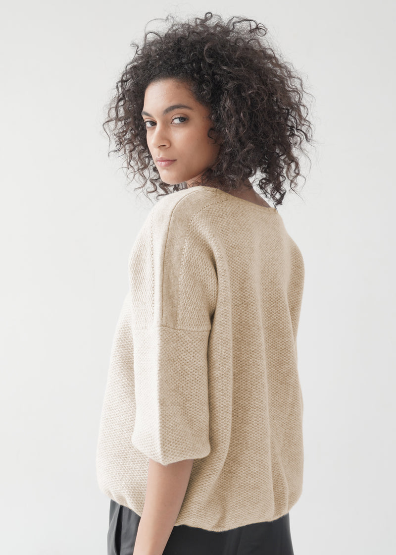 O-neck Elbow-length Sleeves Cashmere Top