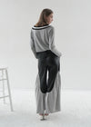 Vegan Leather Pants with Cashmere Splicing