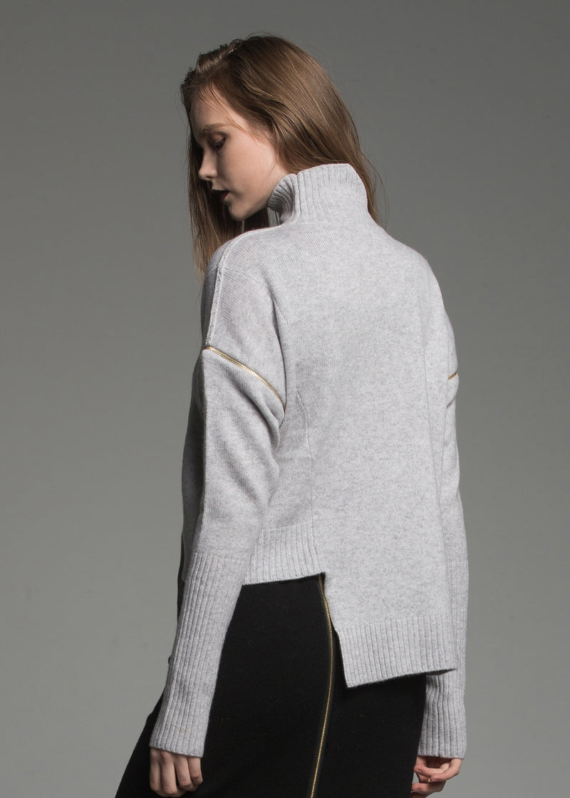 Turtleneck Sweater With Detachable Sleeves