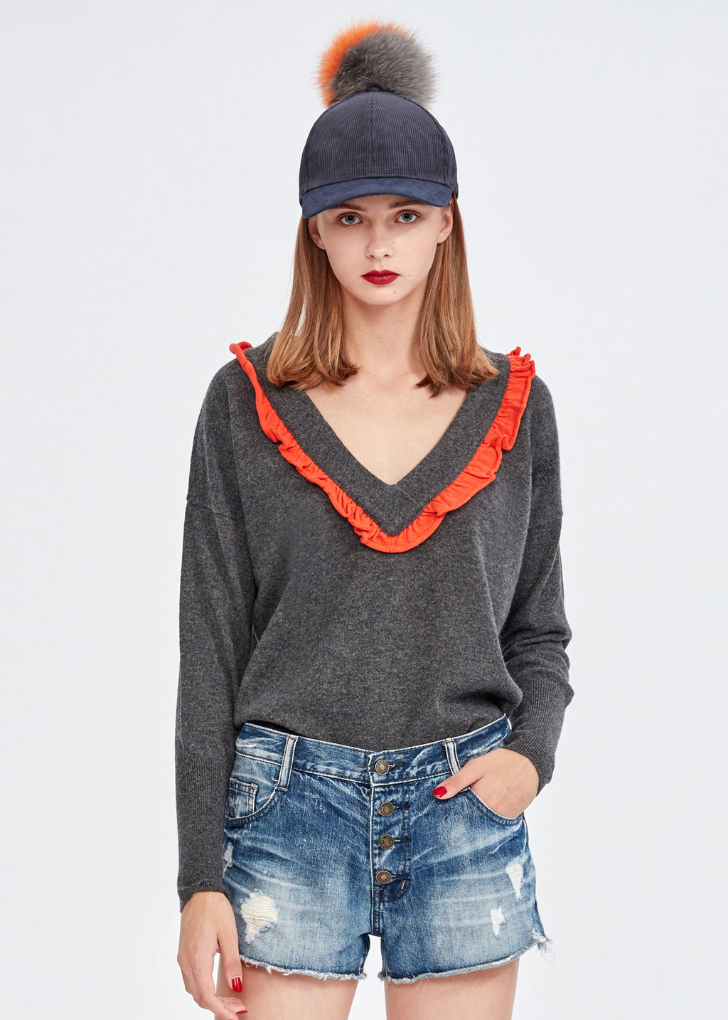 Cashmere Candy Color V-neck Top
