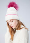 Cashmere Beanie with Detachable Pom Pom
