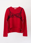 Round-Neck Embroidered Cashmere Sweater