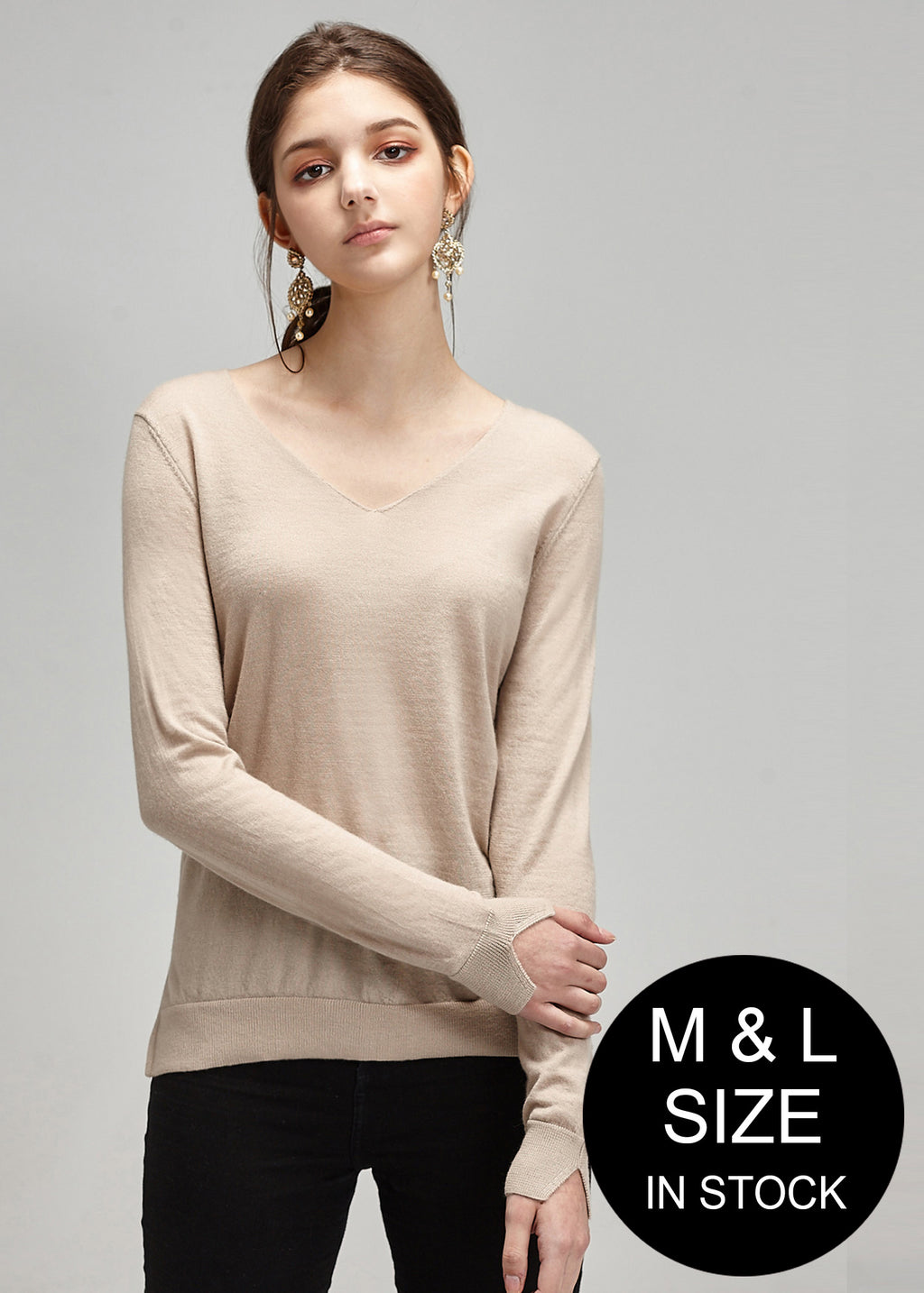 V-neck Loose Fit Cashmere Top