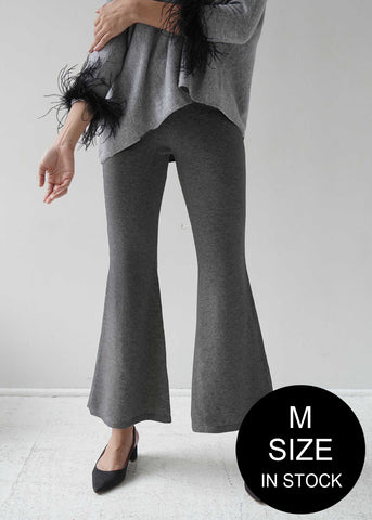Cashmere Side Slit Ribbed Flared Trousers