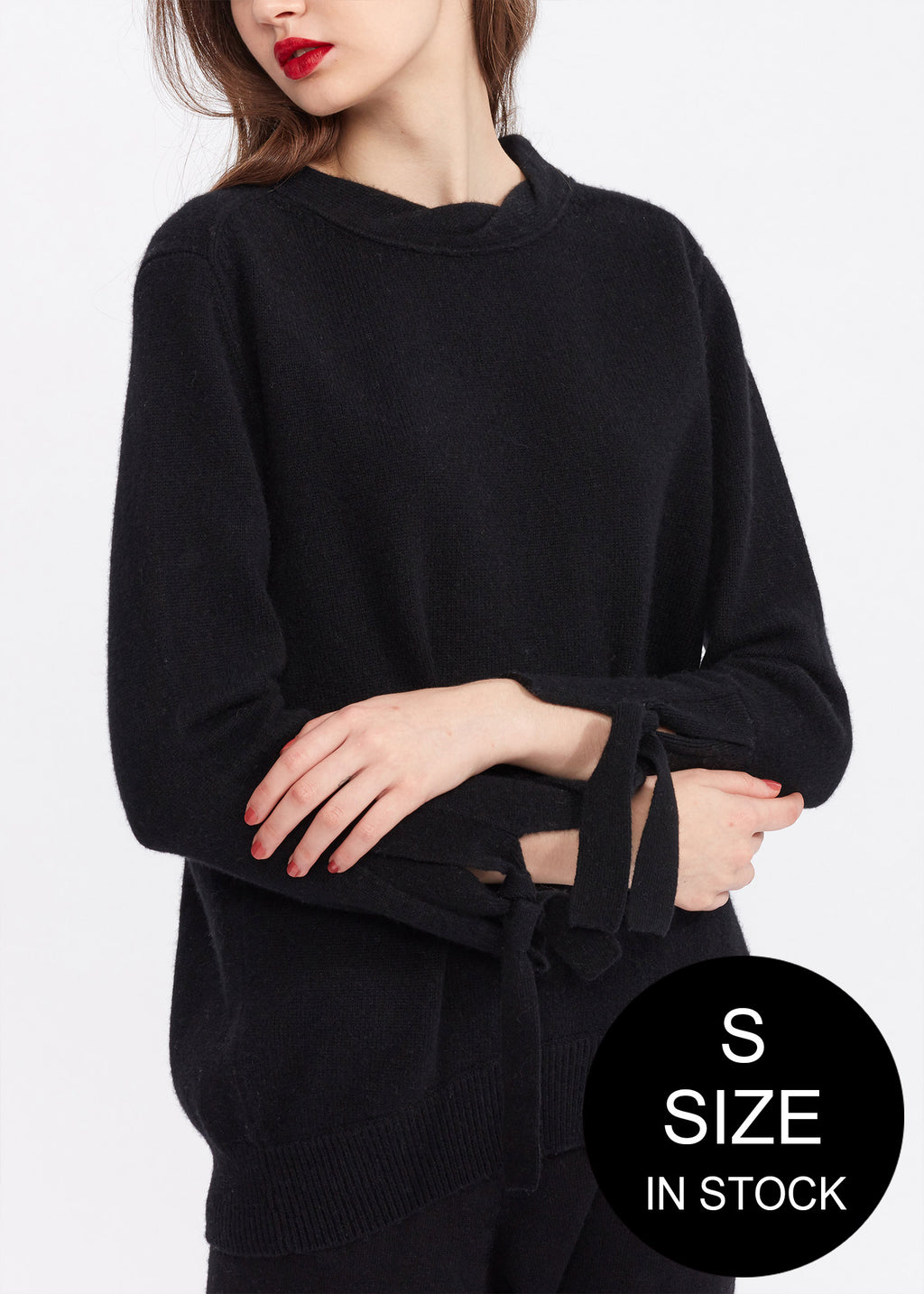 Twist Neck Tie Sleeve Cashmere Sweater