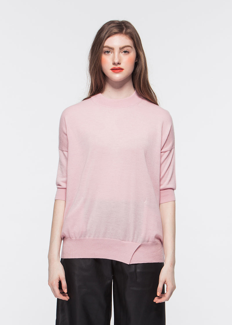 O-neck Elbow-length Sleeve Cashmere Top with Pocket