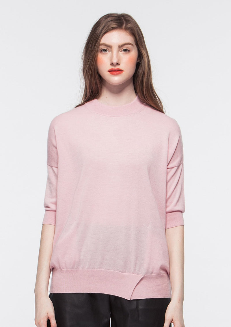 O-neck Elbow-length Sleeve Cashmere Top with Pocket (PINK) - S, M