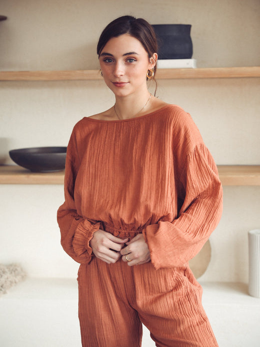 MILLE - Étoile Top in Amber Double Gauze