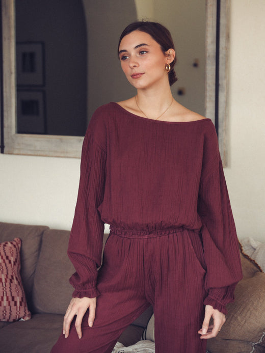 MILLE - Étoile Top in Plum Double Gauze
