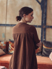MILLE - Jasmine Dress in Coffee Double Gauze
