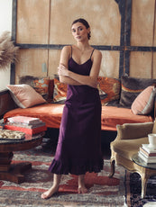 MILLE - Roma Slip Dress in Plum Organic Cotton