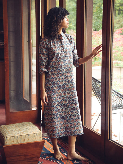 MILLE - Sadie Long Caftan in Fan Print