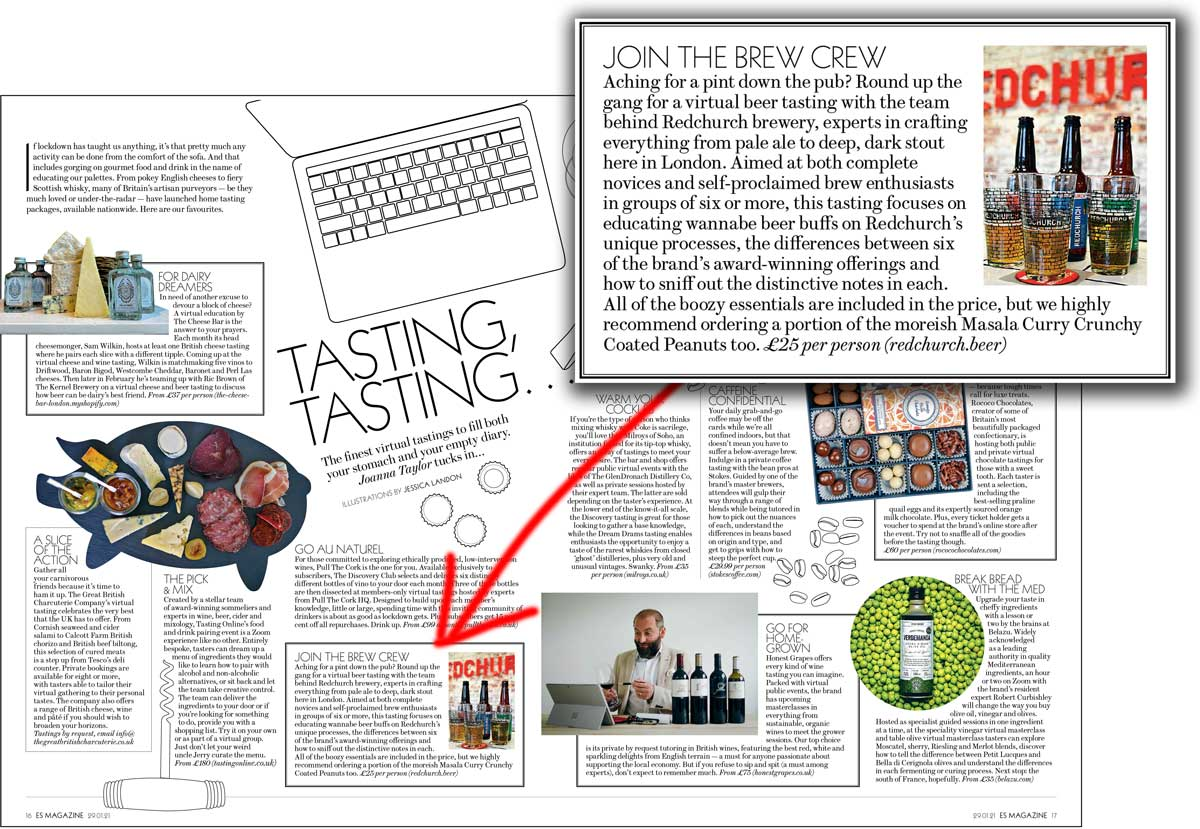 Redchurch Virtual Beer Tasting Evening Standard ES Magazine