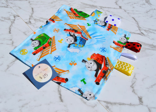 Handmade Crinkle Paper Taggie Thomas the Train Blue