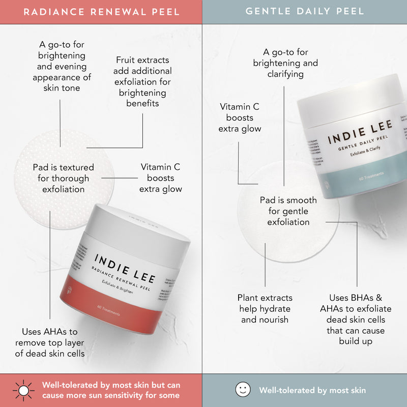 Indie Lee Gentle Daily Peel vs Radiance Renewal Peel