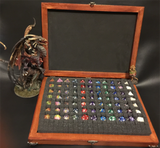 Vintage Wooden Dice Collection Box for 88 Dice