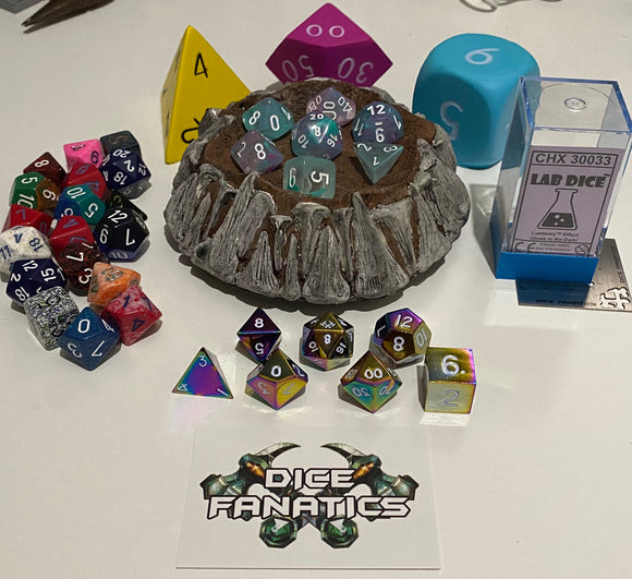 Dwarven Crate Glow in the Dark Chessex with Foam Dice and Rainbow Metal Dice
