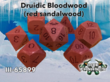 Druidic Bloodwood Archetype Dice in Exotic Red Sandalwood CNC Machined Polyhedral Dice