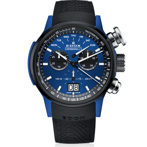Edox Chronorally Chronograph 38001 TINBU1 BUIB1