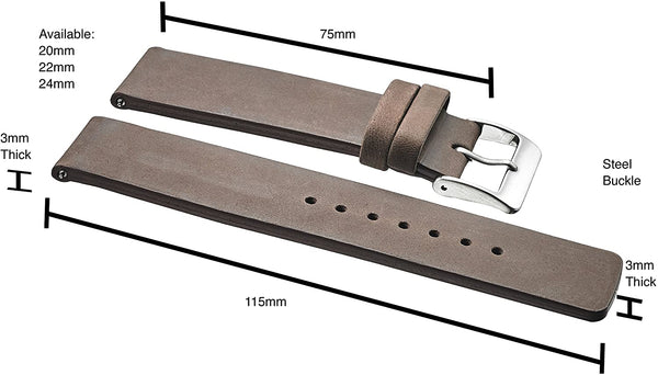 Genuine Suede Leather Thick Flat Watch Strap with Quick Release Spring Bars #320 - mywristcheck.com