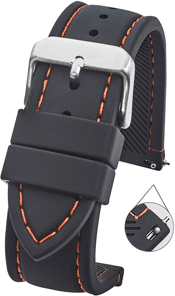 Silicone Watch Strap with Stitching and Quick Release Spring Bars #S3500 - mywristcheck.com