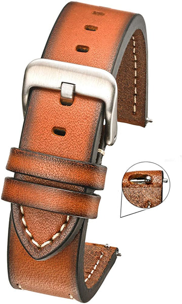 Hand Painted Classic Thick Genuine Leather Watch Band with Quick Release Spring Bars #390 - mywristcheck.com
