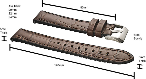 Alligator Grain Leather Watch Band with Silicone Waterproof Lining and Quick Release Steel Spring Bars #368 - mywristcheck.com