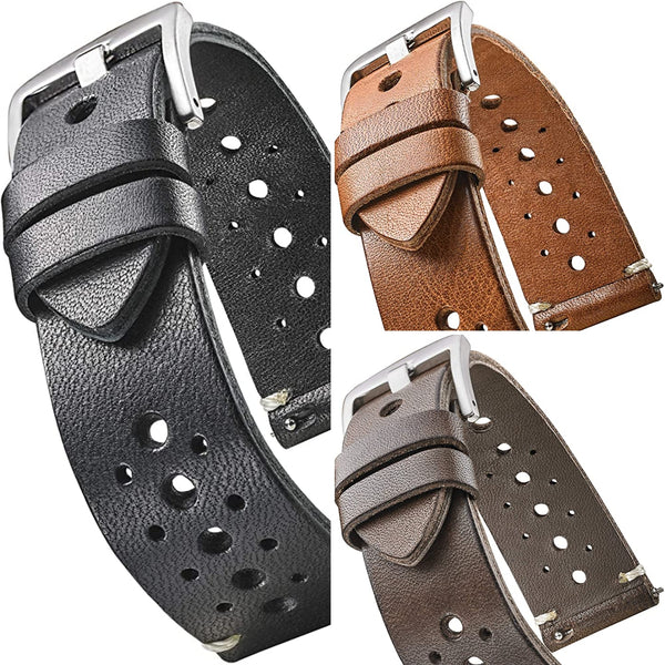 Hand Made Genuine Vintage Full Grain Leather Watch Strap with Quick Release Spring Bars #340 - mywristcheck.com