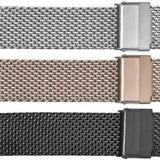 Straight end thick metal mesh watch bracelet #530 - mywristcheck.com