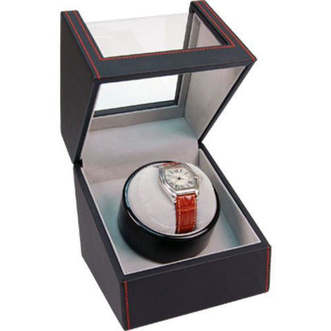 Single Watch Winder- Leather with Red Stitching 83544015