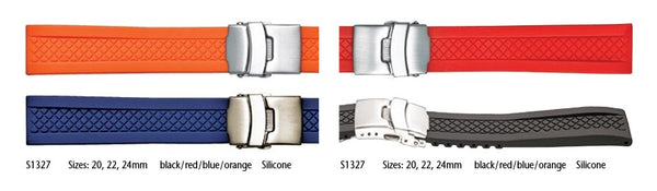Silicone watch strap with deployment clasp and diamond pattern #S1327