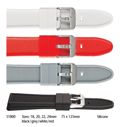 Textured silicone watch strap with rounded end #S1800 - mywristcheck.com