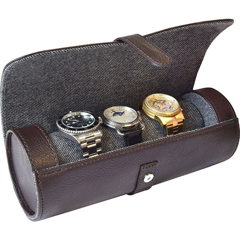 3 Watch Roll Brown Leatherette 61876012 - mywristcheck.com