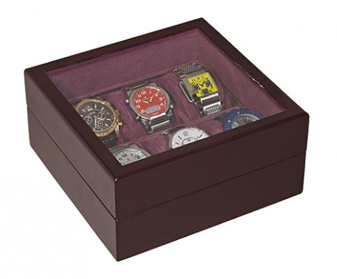 6 Slot Watch Box in Burgundy WD106
